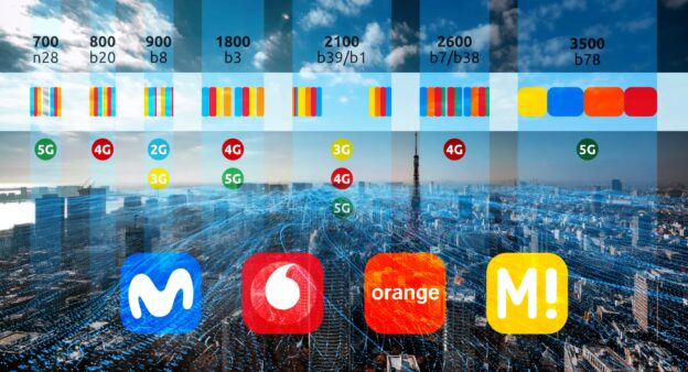 Todas las bandas de frecuencias 2G, 3G, 4G y 5G de las operadoras móviles como nunca las habías visto