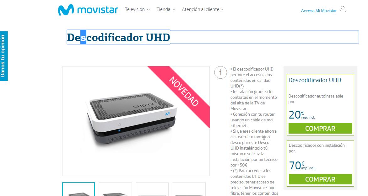 Movistar rebaja el router y decodificador 4K