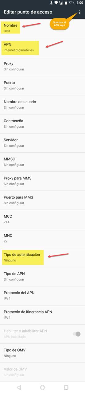 Solución para la configuración de internet con el APN de DIGI mobil
